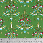 Dena Designs Merry Mistletoe Partridge Christmas Fabric in Green PWDF238