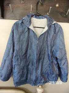 womens jacket reversible with hood, shiny blue and gray, small