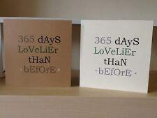 HANDMADE 365 Days Lovelier Than Before Birthday Card. Vintage Bold