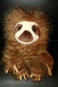 "Aurora Plush Sloth Stuffed Animal Toy Long Shaggy Fur Hair 10"" Cute!! EUC"