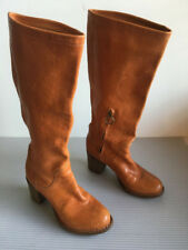 FIORENTINI+ BAKER WOMEN BROWN RIDING LEATHER TALL BOOTS EU 37 US 7 MADE IN ITALY