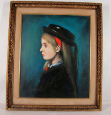 "ORIG '70 Peter J ""Pete"" Boruta Oil on Canvas Painting Alsatian Girl (French) yqz"