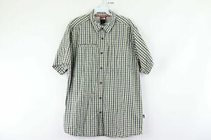 The North Face Mens Large Double Pocket Short Sleeve Hiking Button Shirt Plaid