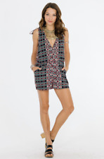 RAGA Electric Nights Sleeveless Print Romper Jumpsuit Shorts Navy Multi S $84