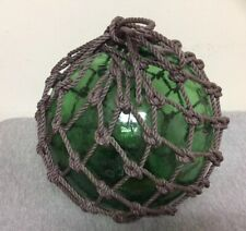 Vintage Large Japanese Blown Green Glass Fishing Buoy w/ Net 39""