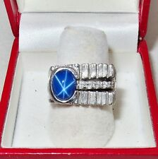 14K White Gold Ring with Blue Lindy Star Sapphire & 4 Diamonds  (11.6g, size 7)