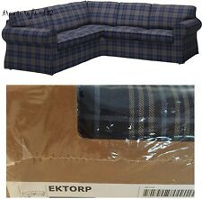 IKEA Cover Ektorp Corner Sofa 2+2 CS SLIPCOVER Check Rutna Blue Plaid EKTORP NEW