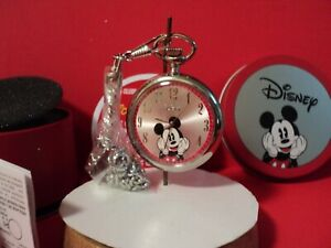 MICKEY MOUSE pocket watchW PAPERS /TIN CONTAINER OPEN FACE new battery/chain