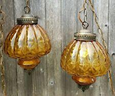 Pair Amber & Brass metal GLASS GLOBE SWAG HANGING LIGHT MID CENTURY Regency