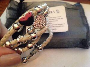 CIAN JEWELS white Leather White Gold Finish plated & Swarovski Elements Bracelet