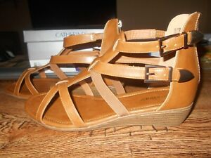 CATHERINES GOOD SOLES WOMEN'S GLADIATOR COGNAC SANDALS Size 12W New With Box/Tag