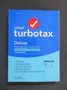 GENUINE 2020 Intuit TurboTax Deluxe Federal & State Windows Mac Download or Disc