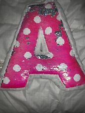 "Justice Flip Sequins ""A� Initial Pillow Pink/white Nwt Mermaid Polka Dot"