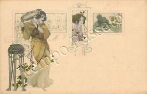 Art Nouveau - Donna in stile liberty con tamburello