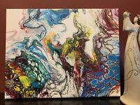 Flowing Cells - Modern Art Original Abstract Acrylic Pour Painting Canvas