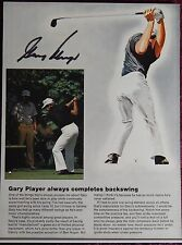 AUTOGRAPHED PHOTO>GOLF PRINTED ON CARDBOARD BACKER>PRO GOLFER> GARY PLAYER