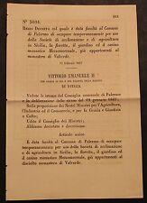 REGIO DECRETO - Data facoltà di occupare parti del Monastero di Valverde - 288