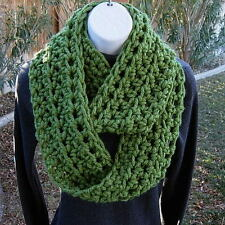 Solid Green INFINITY SCARF LOOP COWL Soft Handmade Crochet Winter Circle Bulky