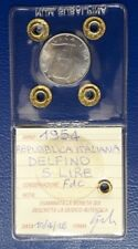 MONETA DA 5 LIRE ITALIA 1954 DELFINO TIMONE FDC PERIZIATA
