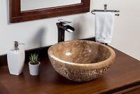 Natural Stone Vessel Bathroom Sink - Rustic Tobacco Travertine