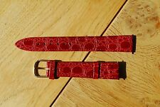 NOS vintage old rose leather watch band 16 mm bracelet montre vieux rose neuf