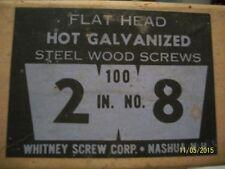 "BOX OF 100, 2"" - NO.8 FLAT HEAD GALV. WOOD SCREWS- OLD"