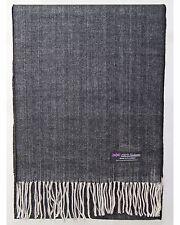100% Cashmere Scarf Black Beige Tweed Flannel Check Plaid SCOTLAND Wool Women