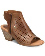 B.O.C Womens Thebe Leather Peep Toe Casual Mule Sandals, Tan, Size 10.0