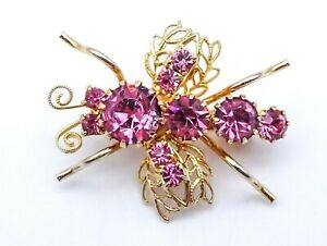"""Vintage Rhinestone Bug Fly Insect Brooch Gold Plated 1 1/2"""" Estate Costume"""