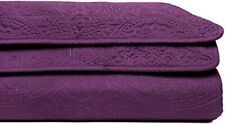 3 Pc Classic Quilted Embroidery KING Coverlet Bedspread, Purple Eggplant