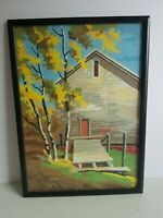 Oil Painting Framed Art Brick House and Tree Vintage