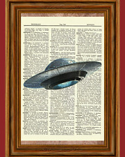 Flying UFO Extraterrestrial Dictionary Art Print Picture Poster Outer Space