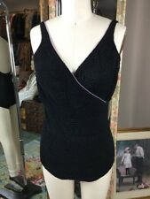 Vintage 60s Jantzen Black Ruched Fabric 1 Pc Swim Suit Size 8 Pinup Rockabilly