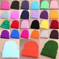 Men Women Beanie Knit Ski Cap Hip-Hop Blank Color Turn Up Neon Warm Wool Hat