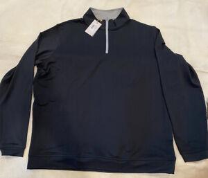 NEW Peter Millar Crown Sport 1/4 Zip Black Stretch Pullover Men's Xl
