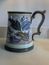 More details for denby glyn colledge studio pottery large tankard leaf pattern blue green vgc