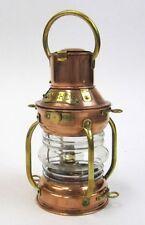 "BRASS & COPPER ANCHOR LAMP 9"" ~ SHIP OIL LAMP ~ MARITIME ~ NAUTICAL DECOR ~ BOAT"