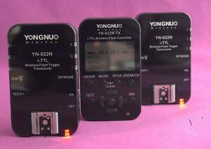 Younguno YN622N-TX Flash Controller & 2 x Y622N Flash Trigger Tranceivers 2173F