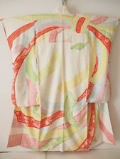 Vintage Japanese Silk Kimono FURISODE, All Shibori, Bundled Ribbons K720