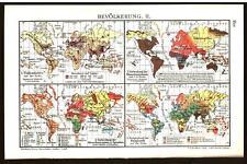 Antique map. THE WORLD & GERMANY. POPULATION MAP. I & II. Circa 1911