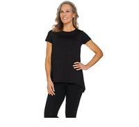 Cuddl Duds Women's Crew Neck Flexwear Short Sleeve (Black, S) A260799
