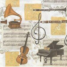 2 Serviettes en papier - Musique Classique - Paper Napkins Classical music