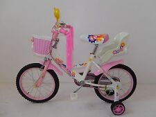"New 16"" Children Girls Kids Bike Bicycle With Training Wheels Steel Frame"