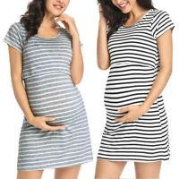 Women Maternity Dress Short Sleeve Stripe Nursing Baby Pregnant Dress Skirt
