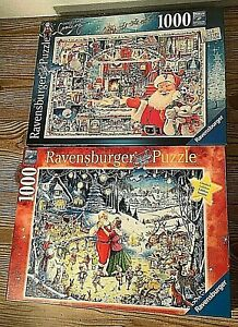 Lot of 2 Ravensburger Christmas Party Santa Limited Edition Jigsaw Puzzles