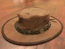 BARMAH -Foldaway Bronco 1060 Waterproof Leather Hat Sz M Brown Made In Australia