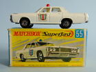 Boxed Lesney Matchbox Superfast 55 Mercury POLICE CAR with narrow wheels