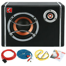 6'' Ultra-Thin Under Seat Car Subwoofer Active Bass Amplifier with Cable Kits