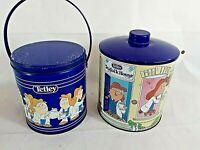 Retro Tetley Tea Teafolk House Tins x 2 Vintage