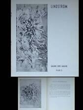 CATALOGUE BENGT LINDSTROM - 1960 - GALERIE RIVE GAUCHE PARIS